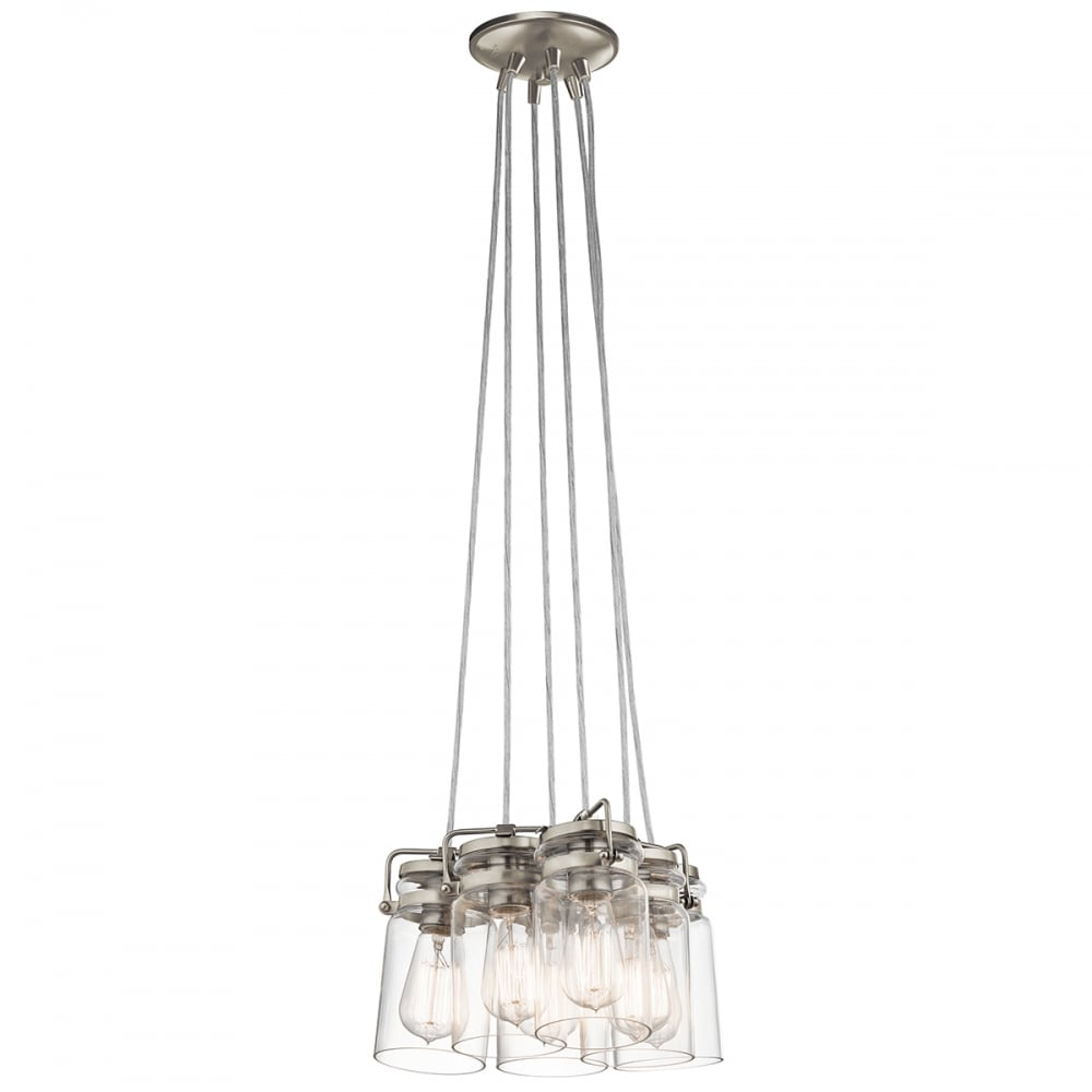 6 Pendant Light Cluster On Nickel Fitting With Clear Glass Shades