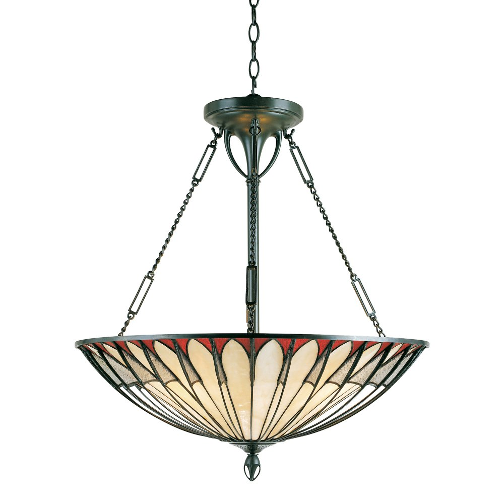 Large Tiffany Uplighter Ceiling Pendant Light With Unusual