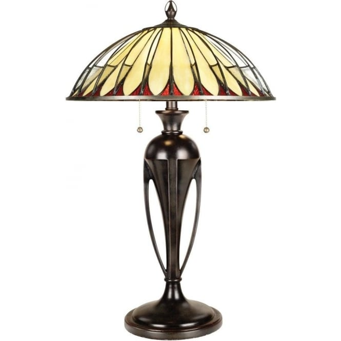 Bronze Base Table Lamp With Tiffany Glass Shade In Modern