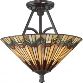 ALCOTT Tiffany Arts and Crafts style semi-flush uplighter ceiling light