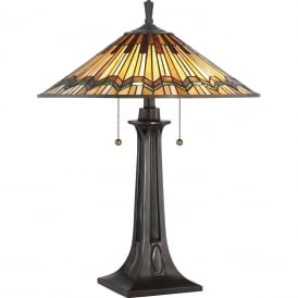 ALCOTT Tiffany Arts and Crafts style table lamp on bronze base