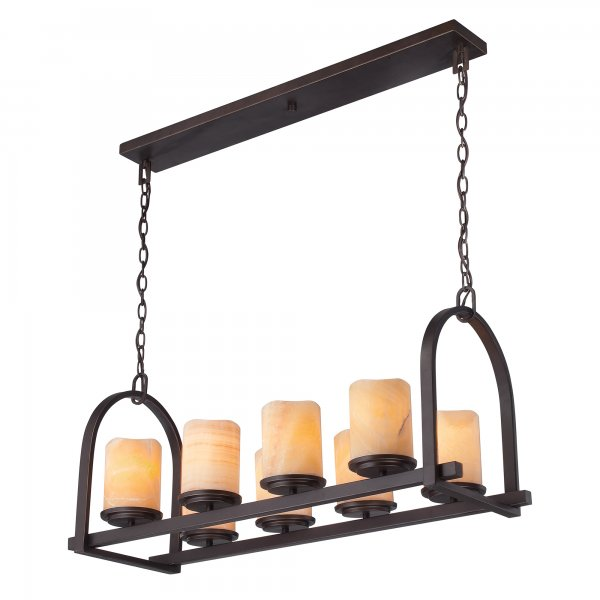 Kitchen Island Lighting Rustic: Rustic Kitchen Island Pendant, Bronze Frame, Onyx Stone