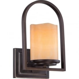 ALDORA rustic bronze wall light with onyx shade