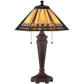 ARDEN bronze base table lamp with Tiffany art glass shade