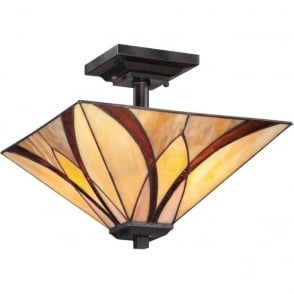 Broadway American Collection ASHEVILLE Art Nouveau Tiffany glass semi-flush uplighter ceiling light