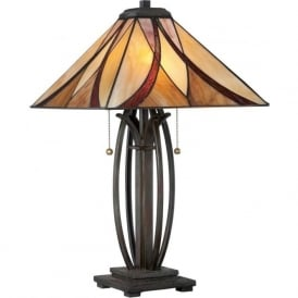 ASHEVILLE Art Nouveau Tiffany glass table lamp on bronze base