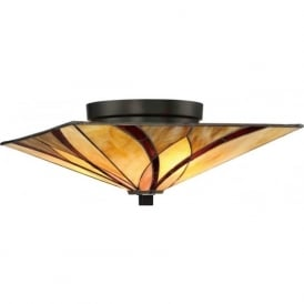 ASHEVILLE Tiffany Art Nouveau flush fitting low ceiling light