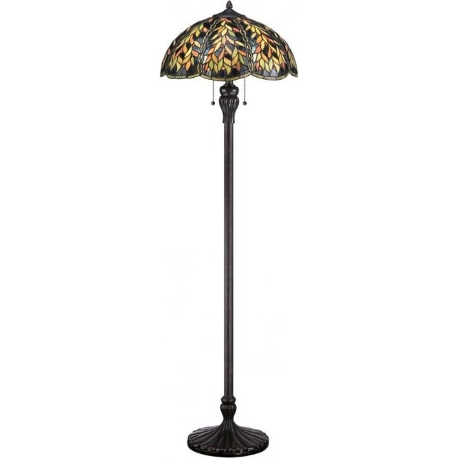 BELLE Bronze Floor Standing Lamp With Leaf Pattern Tiffany Glass Shade
