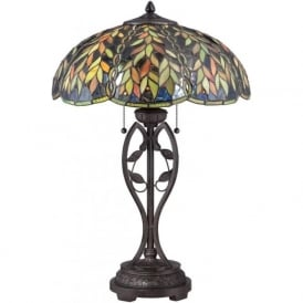 BELLE bronze table lamp with leaf pattern Tiffany glass shade