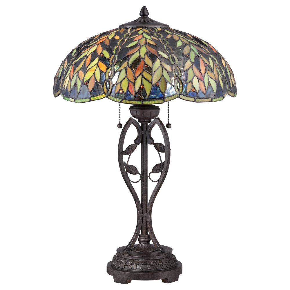Tiffany Table Lamp Bronze Base And Falling Leaves On Art