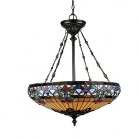 BELLE FLEUR Tiffany art glass inverted ceiling pendant light on bronze frame