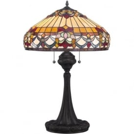 BELLE FLEUR Tiffany art glass table lamp on bronze base