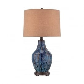 BLUEFIELD lustrous ceramic blue table lamp with shade