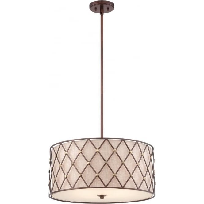 Broadway American Collection BROWN LATTICE drum ceiling pendant light with copper detailing - large