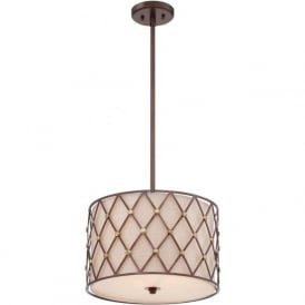 BROWN LATTICE drum ceiling pendant light with copper detailing - medium