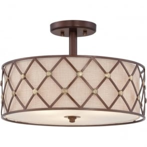 Broadway American Collection BROWN LATTICE drum shade low ceiling light with copper detailing