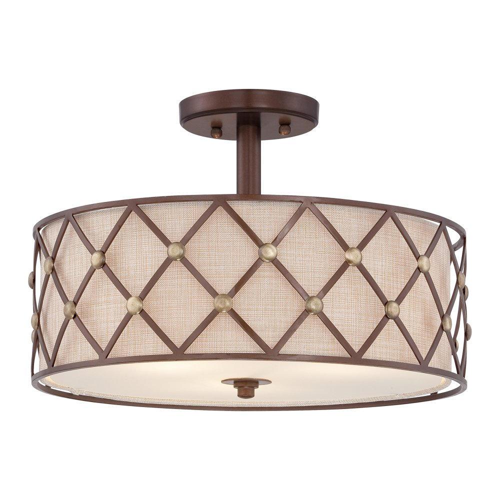 brown lattice semi flush fitting low ceiling light light. Black Bedroom Furniture Sets. Home Design Ideas