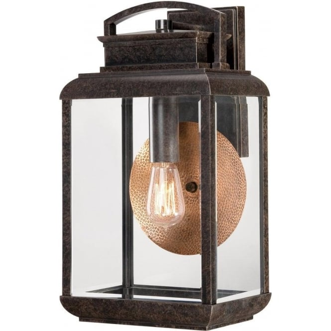 Byron Bronze Outdoor Wall Lantern with Copper Reflector Plate, IP44