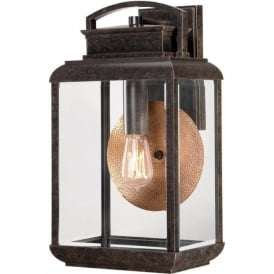 BYRON traditional bronze garden wall light with copper reflector - large
