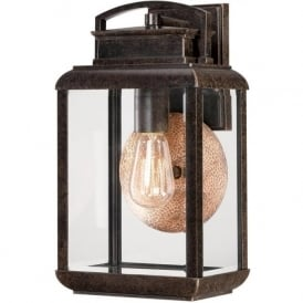 BYRON traditional bronze garden wall light with copper reflector - medium