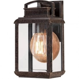 BYRON traditional bronze garden wall light with copper reflector - small
