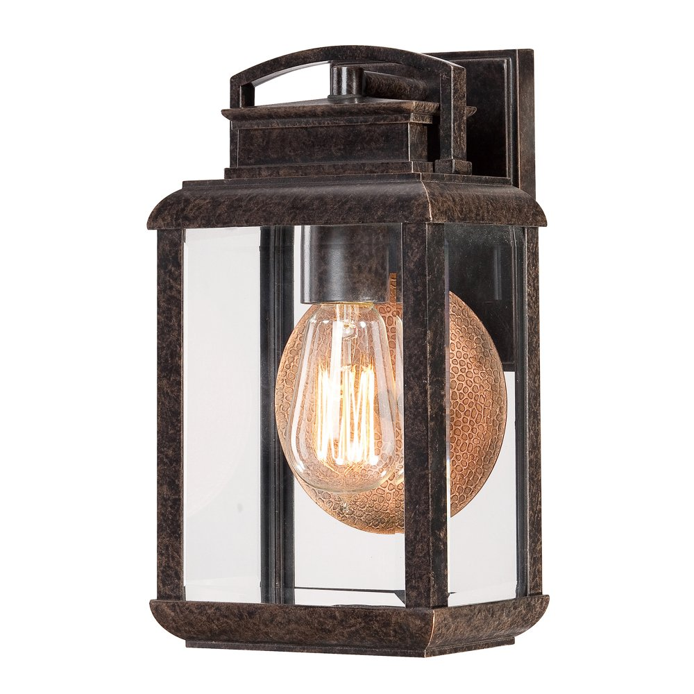 Traditional Garden Wall Lights : Bronze Finish Outdoor Wall Lantern with Copper Reflector Plate, IP44