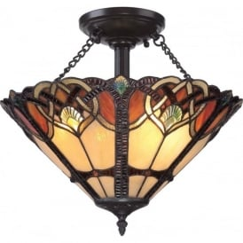 CAMBRIDGE Tiffany Art Nouveau uplighter ceiling light