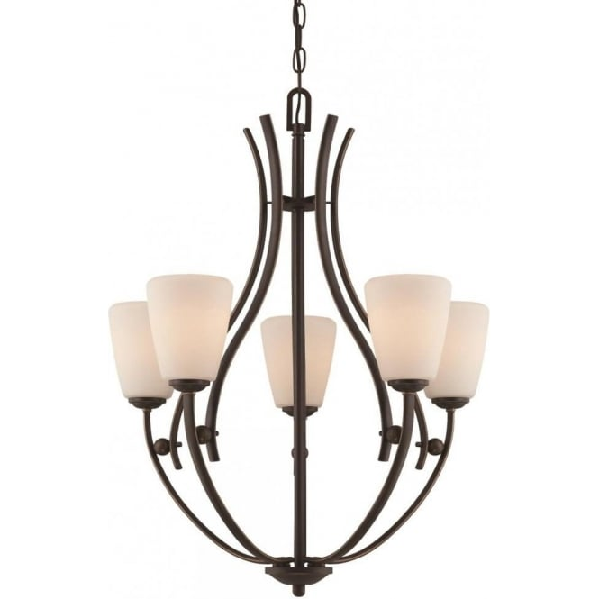 Broadway American Collection CHANTILLY bronze hanging ceiling light fitting with opal glass shades