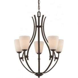 CHANTILLY bronze hanging ceiling light fitting with opal glass shades
