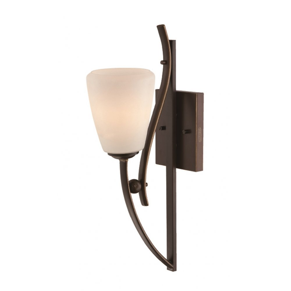 Single Wall Light in Dark Bronze with an Opal Glass Shade