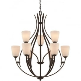 CHANTILLY large bronze feature chandelier for high ceilings