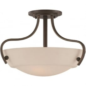 CHANTILLY semi-flush uplighter ceiling light fitting, opal glass shade