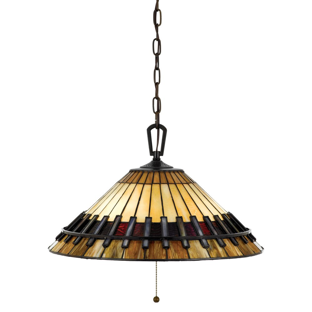 Tiffany Ceiling Pendant Light In Arts And Crafts Style Amber And Brown