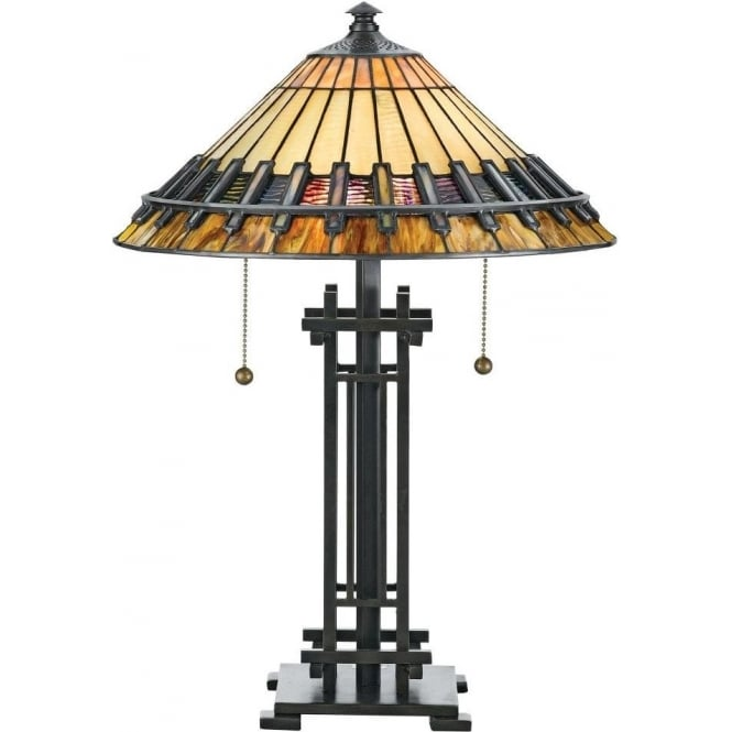 Broadway American Collection CHASTAIN Tiffany Arts and Crafts style table lamp on bronze base