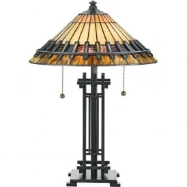 CHASTAIN Tiffany Arts and Crafts style table lamp on bronze base