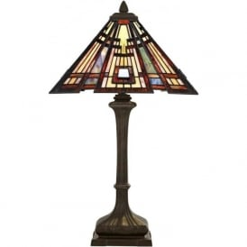 CLASSIC CRAFTSMAN Tiffany Art Deco geometric pattern table lamp
