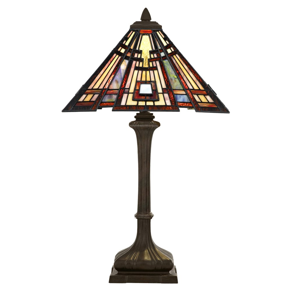 Tiffany glass table lamp bronze base with geometric for American classic lighting