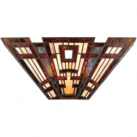CLASSIC CRAFTSMAN Tiffany Art Deco geometric pattern wall light