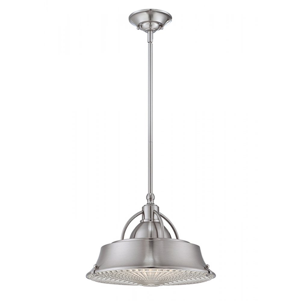 industrial style ceiling pendant light in brushed nickel finish. Black Bedroom Furniture Sets. Home Design Ideas