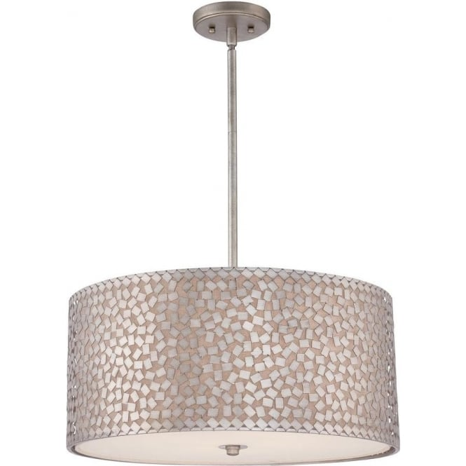 Broadway American Collection CONFETTI large silver hanging ceiling pendant light with mosaic detail
