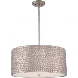 CONFETTI large silver hanging ceiling pendant light with mosaic detail