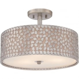 CONFETTI semi-flush low ceiling drum shade with silver mosaic pattern