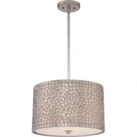 CONFETTI silver mosaic drum shade ceiling pendant light