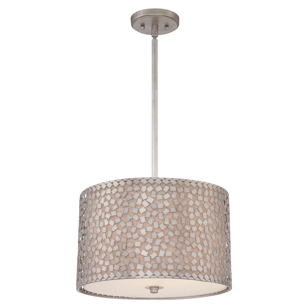 Drum Shade Ceiling Pendant Light Mosaic Pattern On Linen