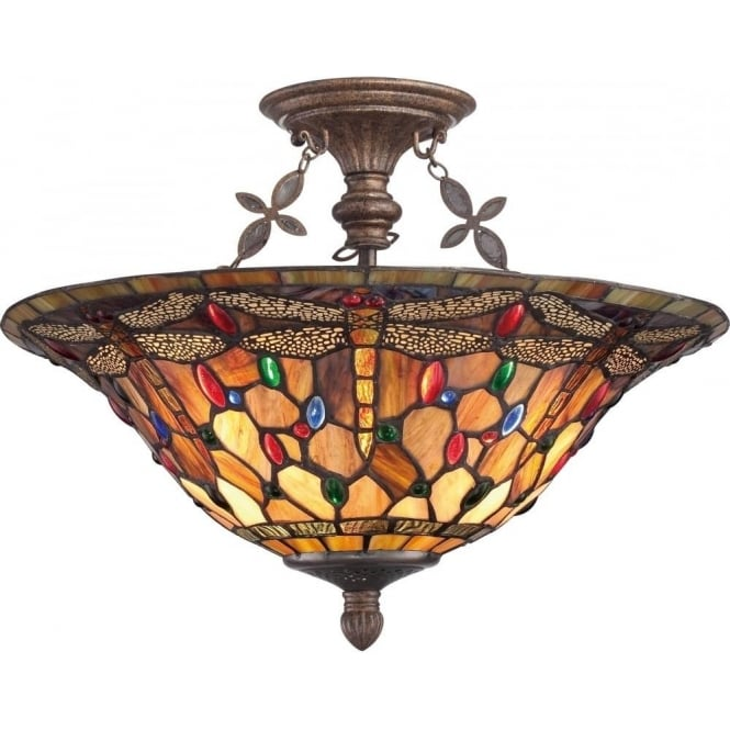 Broadway American Collection DRAGONFLY Tiffany glass uplighter ceiling light - semi-flush
