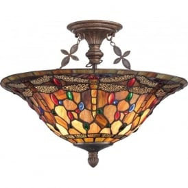DRAGONFLY Tiffany glass uplighter ceiling light - semi-flush