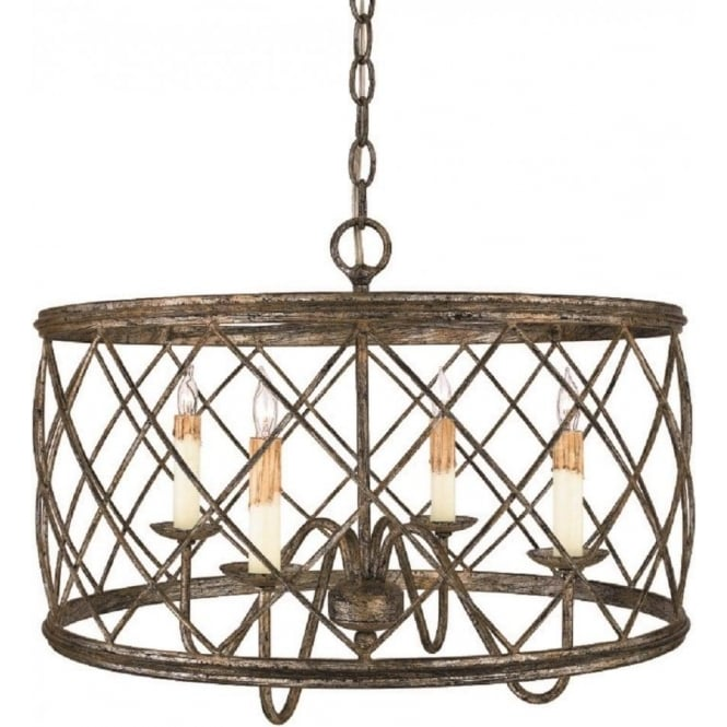 Broadway American Collection DURY drum cage pendant light in traditional bronze and silver leaf ironwork