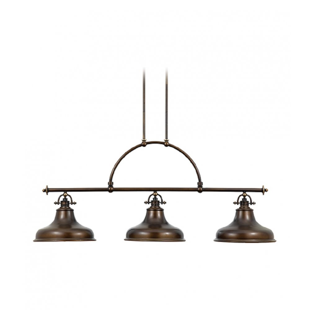 Bronze factory style long bar ceiling pendant light for for Island kitchen lighting fixtures