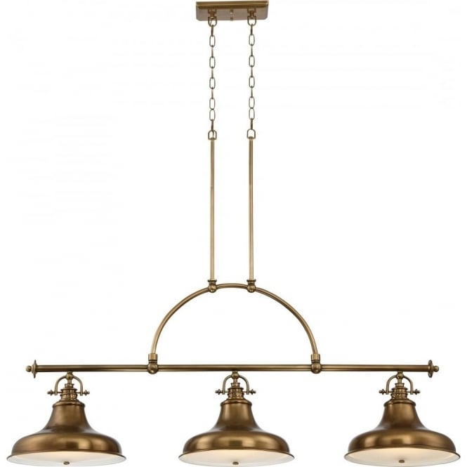 Broadway American Collection EMERY kitchen island suspended bar pendant with 3 lights - weathered brass