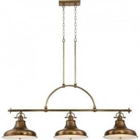 EMERY kitchen island suspended bar pendant with 3 lights - weathered brass
